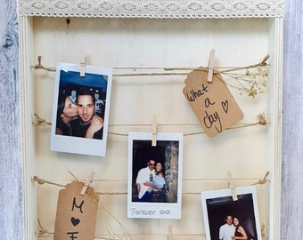 Polaroid Guestbook Wedding   Wedding guestbook frame boho   Polaroid Photo Frame   Polaroid wooden frame