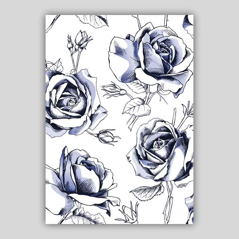 Set of 3 Prints Black /& Grey Floral Abstract Rose Flower Wall Art Print Picture Gallery Wall Poster Decor Gift
