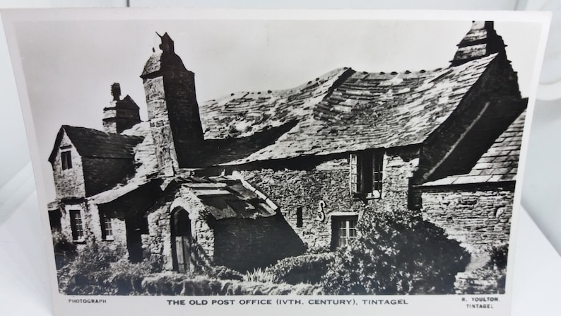 The old 14th Century Post Office Tintagel Cornwall Uk Vintage Postcard Rppc Real Photo