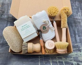 Zero Waste Cleaning Set   Natural Dishwashing Soap Bar   Organic Cotton Produce Bag   Plantish