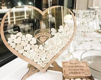 Hearts Wedding Guest Book Alternative, Custom Drop Box, Unique Wooden Boho and Rustic Wedding Decor, Personalized Wedding Gift, Anniversary