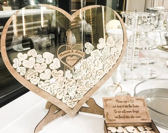Hearts Wedding Guest Book Alternative from WeddingByEli - Wooden Wedding Decor - Fall Wedding - Autumn - Alternative Guest Book Drop Box