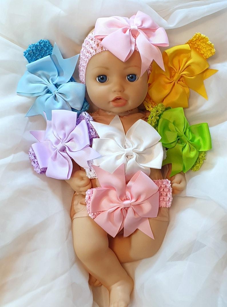 Crochet Bow Baby Blue Doll Headband Hair Band