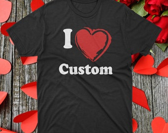 T-Shirt Valentines Boywith I Love You Custom Designed Minifigure Red Rose