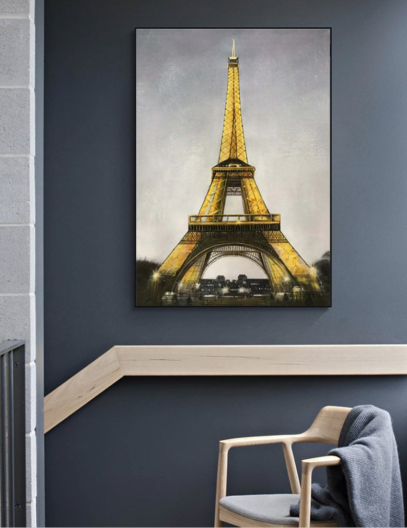 Large Modern Oil Painting on Canvas Eiffel Tower Abstract Painting Paris Canvas Wall Art