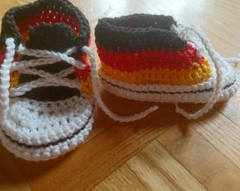 BABY,Infant,German Flag colors handmade Booties Shoes.Made in Germany Socks