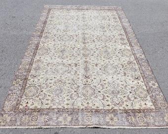 flowery pattern vintage rug turkish rug  5.4 x 8.7 ft wool rug boho rug kitchen rug decorative rug area rug floor rug Carpet No 4087