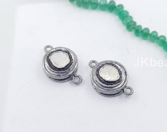 Two Tone Flower Polki Connector  Silver Findings Silver Sterling 925 Standard Diamond Jewelry Findings Spacers Pave Connectors