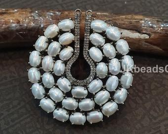 Oval Pendant,Pearl Pendant,Zircon Pendant Bead,pave pearl,Black Pave Pearl,Freshwater Pearl,JD323-JB