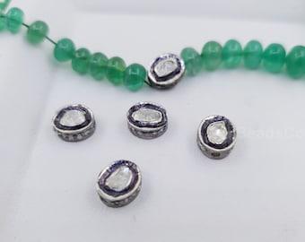 Pave diamond oval polki bead  spacers design Pave diamond 925 sterling silver handmade jewelry diamond jewelry fine jewelry 8mm approx