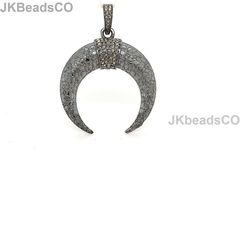 Pave Diamond Silver Oxidised Antler Horn Pendant Sterling Silver 925 Jewelry Handmade Pendant 38x29mm Pave Setting Diamonds Necklace