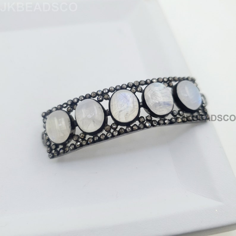 Diamond Jewelry Findings Spacers Moonstone Connector With Pave Setting 48x9mm Bend Silver Findings Sterling 925 Standard