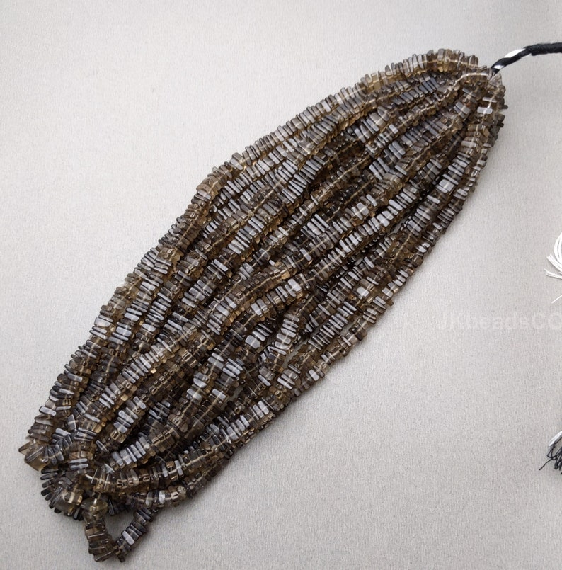 Smoky Quartz Smooth Square Disc Flat Beads Jewelry Making Supplies Beads 4-5mm Beads 16/' Inches  Smoky Quartz Gemstone Beads