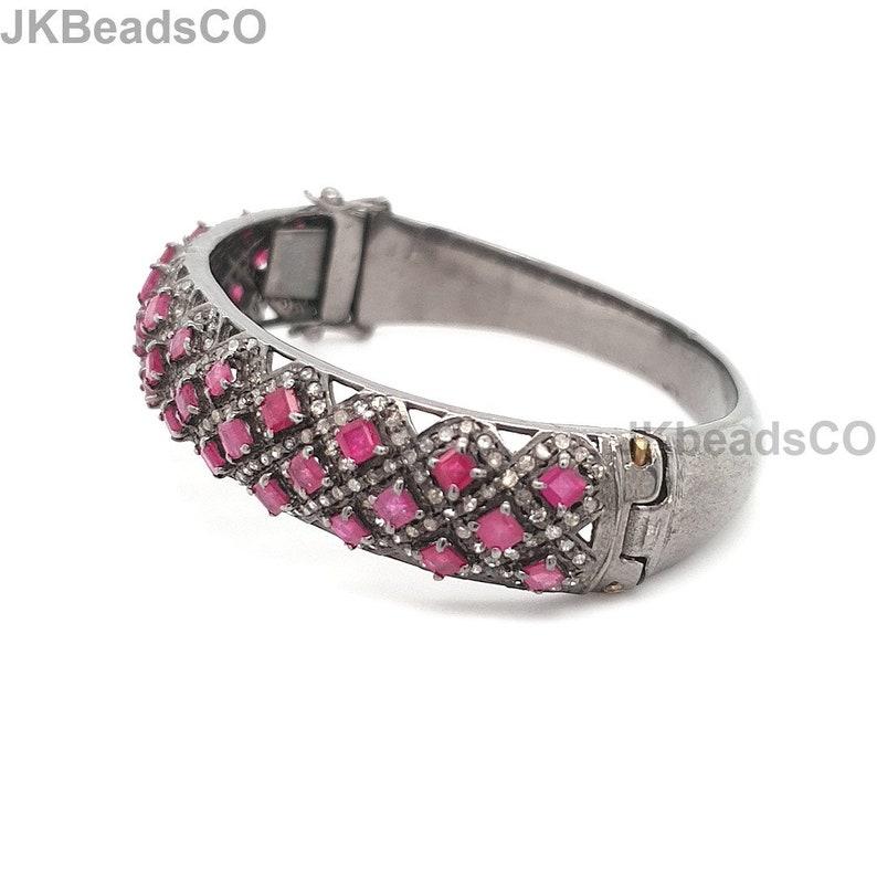 high quality diamond jewelry Antique Bracelet looking bracelet Pave Diamond Silver Oxidised Ruby Bracelet Sterling Silver 925
