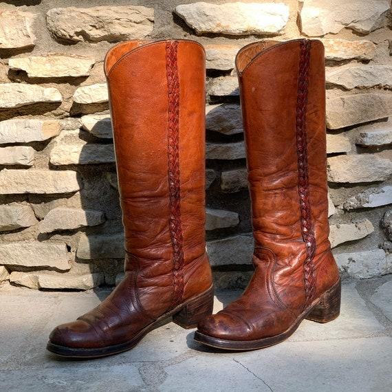 Vintage FRYE Knee High Braided Campus Boots