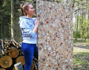 Large reclaimed wood wall art/ Wood panel 3d wall art/ Wood slice mosaic/ Driftwood wall art/ Modern Rustic wood wall art/ Fireplace decor