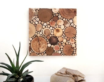 Square wood mosaic/ Rustic wall decor/ Recycled wood wall art/ Unique farmhouse decor/ Wood slices art/ Country fireplace decor
