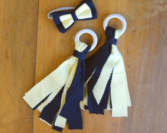 Black & Yellow Children's Fabric and Wood Pom-Poms and Hair Bow - Iowa Hawkeyes, Missouri Tigers, Pittsburgh Steelers/Pirates/Penguins