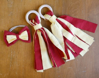 Red & Yellow Children's Fabric and Wood Pom-Poms and Hair Bow - Iowa State Cyclones, Kansas City Chiefs, USC Trojans
