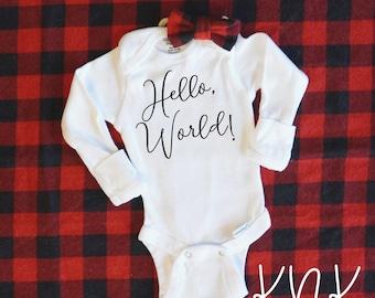 Hello, World! - Script Font - Baby Bodysuit