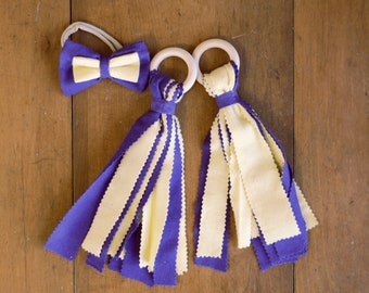 Purple & Yellow Children's Fabric and Wood Pom-Poms and Hair Bow - UNI Panthers, LSU Tigers, Minnesota Vikings, LA Lakers