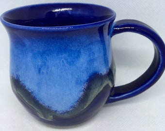 Holds 15 Ounces Large Coffee Mug Vintage Belly Design Cobalt Blue New.