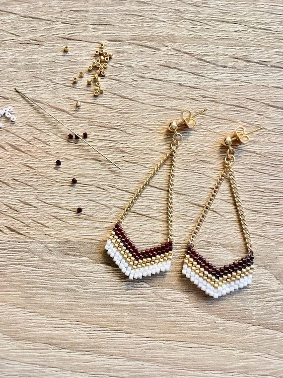 Stars dangling earrings miyuki beads Christmas gift woman jewel gold plated