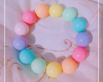 Girls mini gumball acrylic bead necklace bracelet earrings Pastel rainbow jewelry set