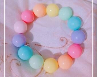 Rainbow bead bracelet, Bubblegum bead - Kawaii Fairy Kei, Sweet Lolita Fashion Jewelry, Pastel Gumball Beads