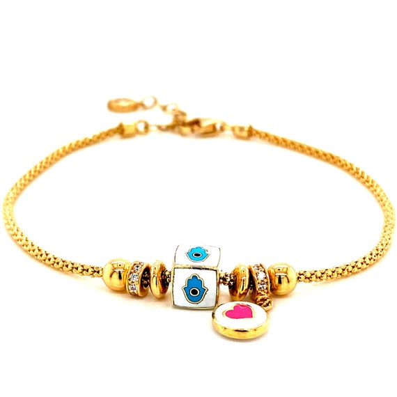 14k Evil Eye Charm Bracelet With Hamsa & Heart Cha