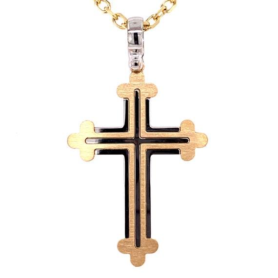 14k Yellow Gold Italian Solid Cross Religious Pendant