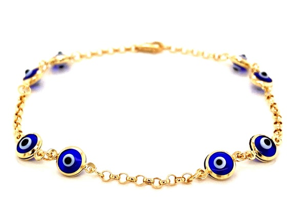 Dainty 14k Evil Eye Bracelet / 14k Solid Gold Evil