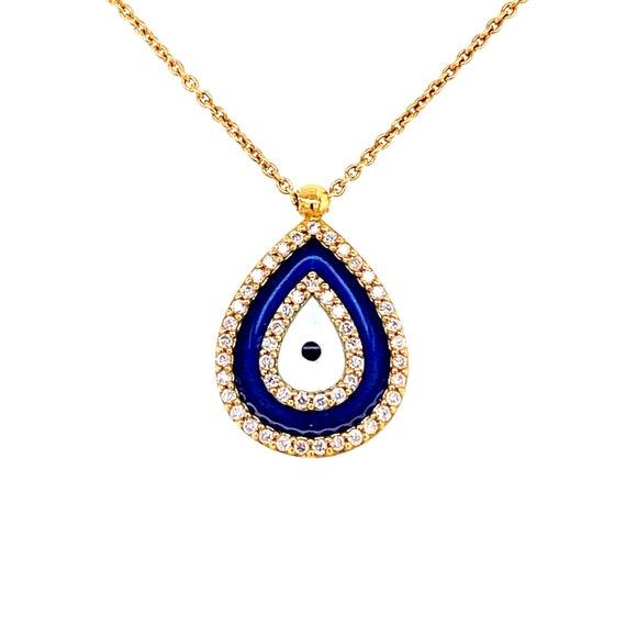 18k Gold Teardrop Diamond Evil Eye Pendant Necklac