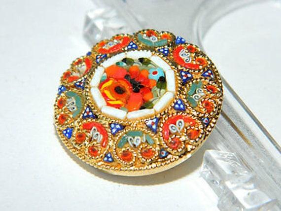 Vintage Italian Micro Mosaic Tessellate Brooch Flo