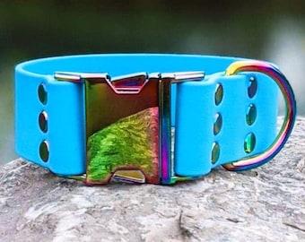 Side Release Teal 1.5/'/' Waterproof Dog Collar Faux Leather Dog Collar Biothane Collar Vegan Leather Collar Brass