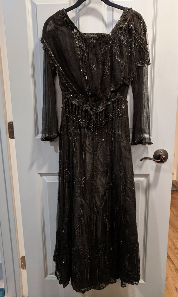 Early 1900's Black Beaded Evening Dress