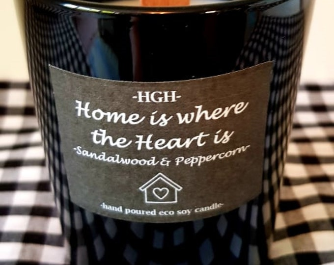 Featured listing image: SANDALWOOD & PEPPERCORN - Home Is Where The Heart Is - Eco Soy Wax Candle with Original Natural Wooden Wick