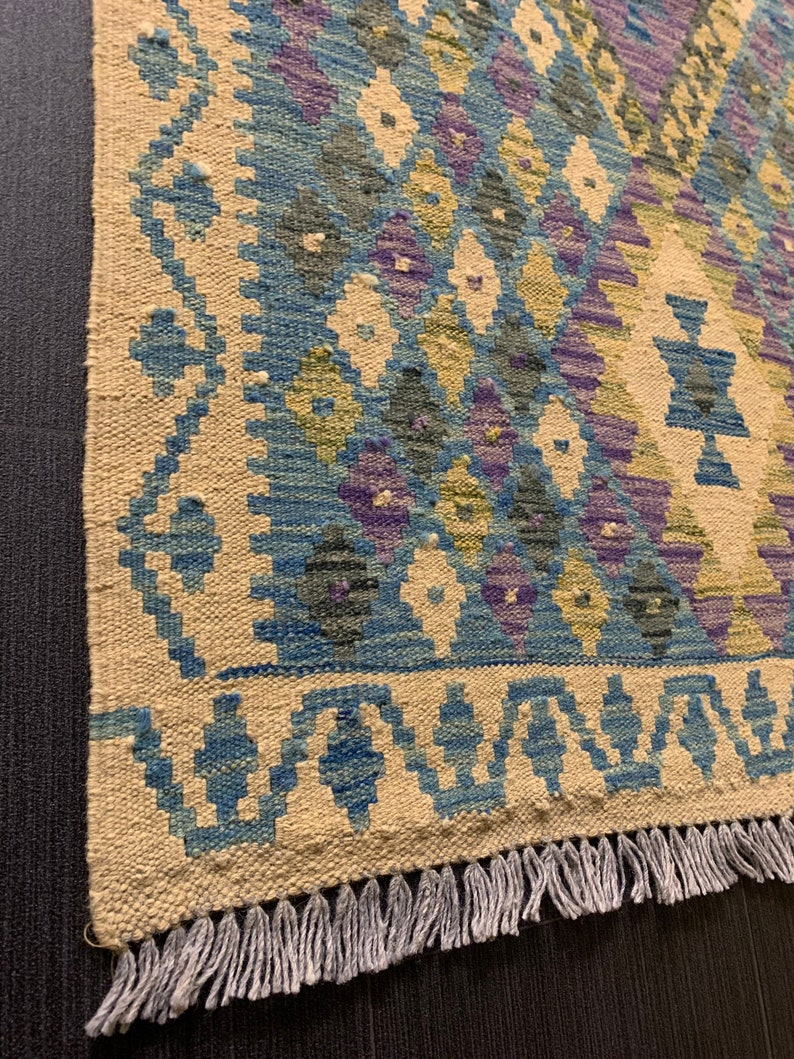 100/% wool Afghan Kilim Rug Premium Handmade Afghan Kilim Runner 296x83 CM
