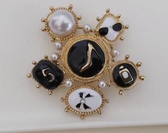 number 5 charm brooch,tweed ribbon brooch number 5 Brooch mother gift designer inspired white pearls brooch Brooch navy blue birthday