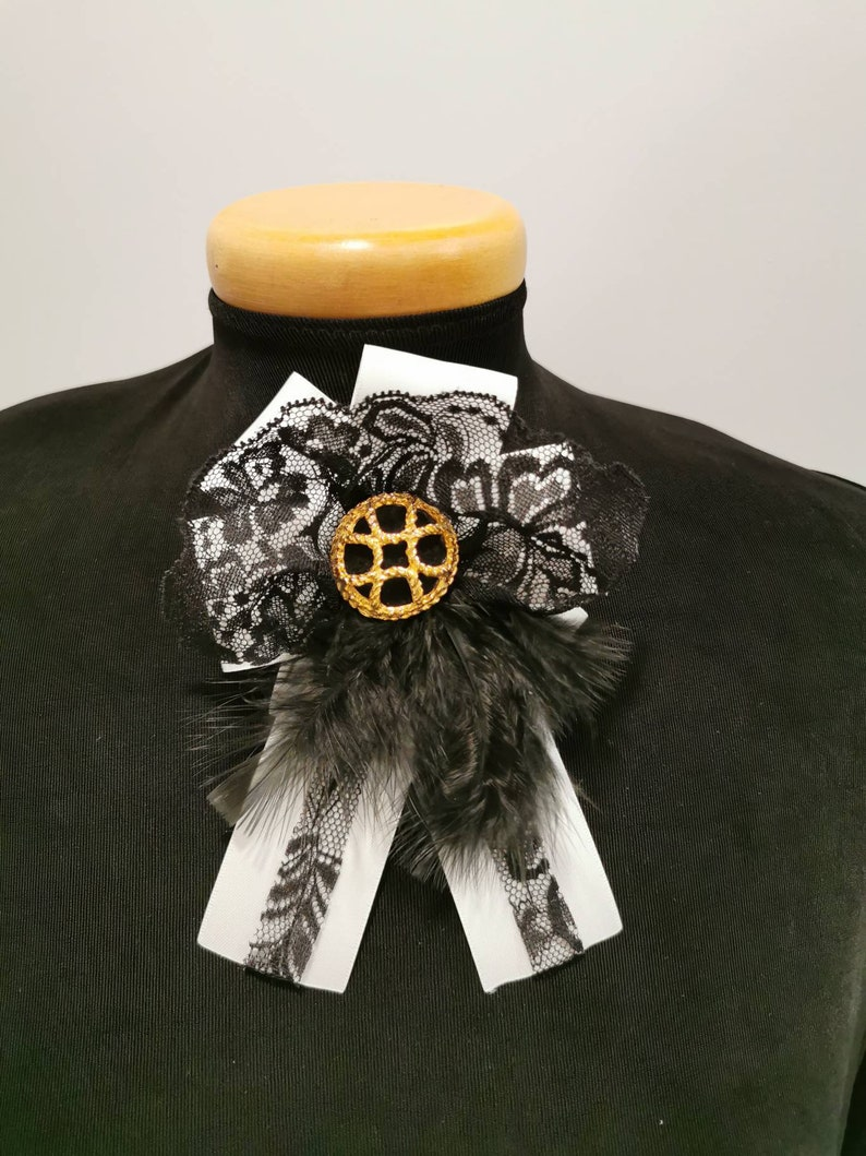 Vintage repurposed,brooch gold,60/'s button black and gold vintage brooch gift for mother Day,prom ni French lace black and white Brooch