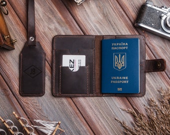 Custom leather passport holder,Personalized passport cover and luggage tag set,Travel gift for men women,Passport holder