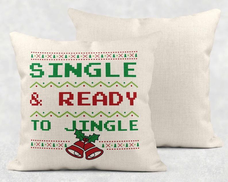Christmas Pillows Single Ready To Jingle Christmas Decor Christmas Pillow Cover Christmas Decorations Farmhouse Decor Pillow Case 16 x 16