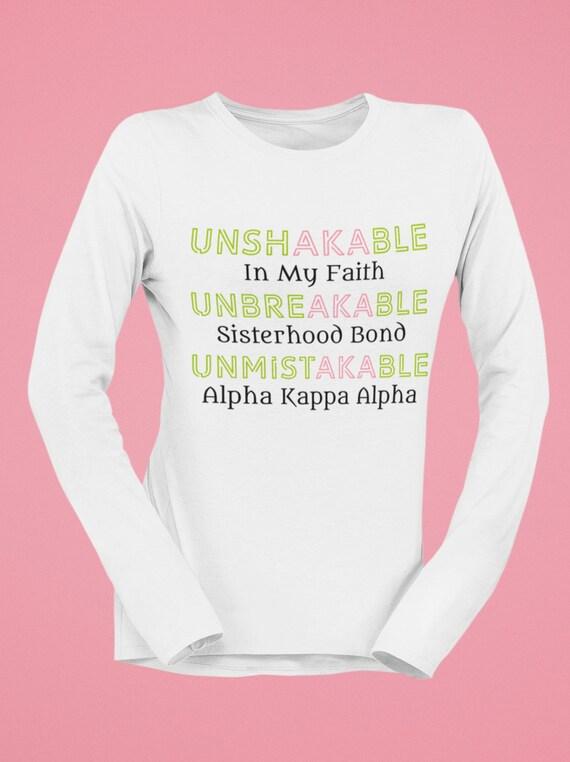 Unshakable Unbreakable Unmistakable Alpha Kappa Alpha Long Sleeve Tee FREE SHIPP