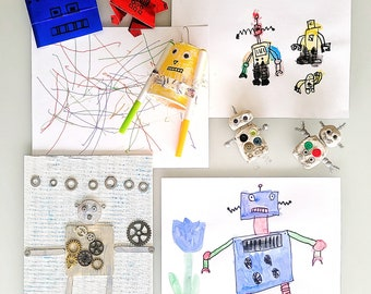 Robot Art Kit | Robots Crafts | Daddy & Me Art Box | Preschool Art, Crafts and Science Subscription | Montessori | Kids Hands-on-Learning