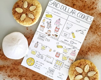 Kids Montessori Visual Recipes | Cooking with Kids | Cooking School | Homeschooling | Learn to cook, bake, sanddollar cookie recipe
