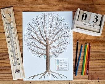 Weather Tree Tracker | Bullet Journaling | Coloring | Montessori, Waldorf, Charlotte Mason Natural Learning for Kids | Perpetual Calendar