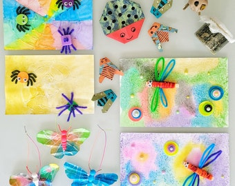 Bugs arts and crafts | Butterflies, dragonflies, ants and more | Daddy & Me Art Box | Preschool art kit for children and parents