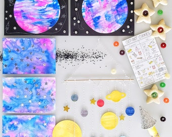 Space Art Kit | Mommy & Me Art Box | Preschool Art, Crafts and Science Subscription | Montessori | Kids Hands-on-Learning
