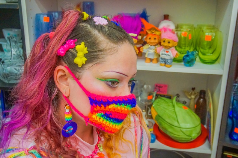 Crochet rainbow smog mask image 0