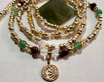 Custom Waist beads Sunstone /& Green Aventurine Crystal Waist Beads Belly Chain Stretch waist beads with screw clasp Self Care